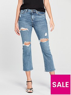c877ca96125 V by Very Distressed Crop Kickflare Jean - Mid Wash