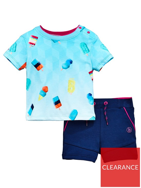 3f61b880a Baker by Ted Baker Baby Boys Ice Lolly T-Shirt and Short Set - Navy ...