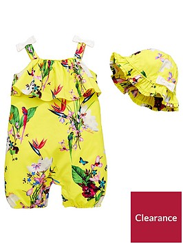baker-by-ted-baker-baby-girls-2-piece-oasis-strappy-romper-and-hat-outfit-yellow