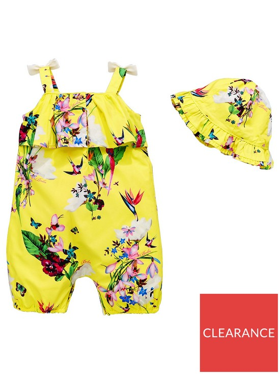 ... Ted Baker Baby Girls 2 Piece Oasis Strappy Romper and Hat Outfit -  Yellow. View larger e61c15ca95d7