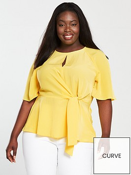 v-by-very-curve-knot-front-kimono-blouse-yellow