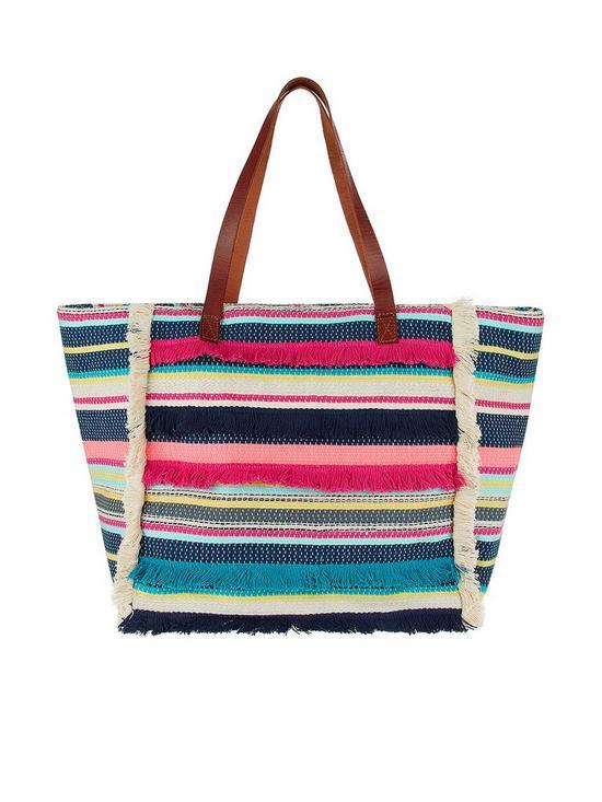 7a4271d4f8 Accessorize Multi Stripe Fringed Beach Tote Bag   very.co.uk