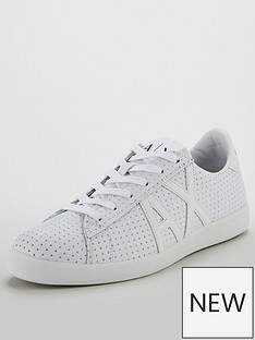 e1057249706 Armani Exchange Punched Leather Trainer