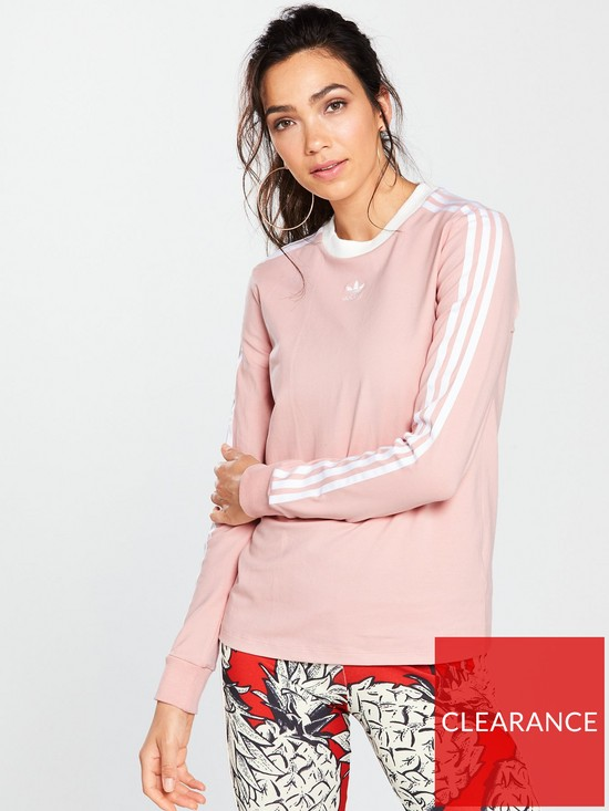 8151480b46de86 adidas Originals 3 Stripes Long Sleeve Top - Pink