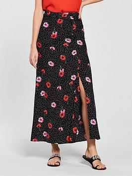 v-by-very-button-detail-maxi-skirt-printed