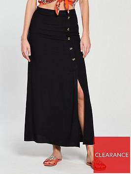 v-by-very-button-detail-maxi-skirt-black