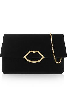 lulu-guinness-issy-velvet-lip-medium-clutch-bag-black