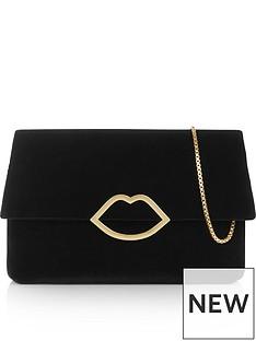 lulu-guinness-issy-velvet-lip-medium-clutch-bag-black