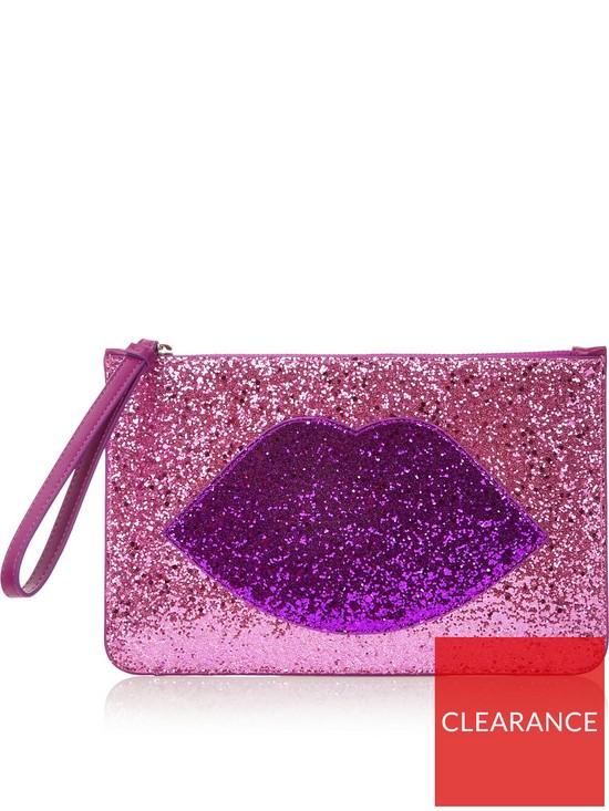 7f82cb565f4a LULU GUINNESS Grace Glitter Lip Pouch Bag - Pink