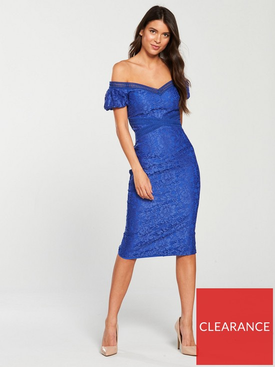 46a4ade57039 Little Mistress Lace Off Shoulder Bodycon Midi Dress - Azure Blue ...
