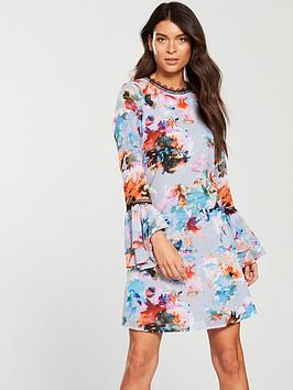 Little Mistress Chiffon Print Fluted Sleeve Mini Dress