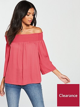 warehouse-smocked-bardot-top-pink