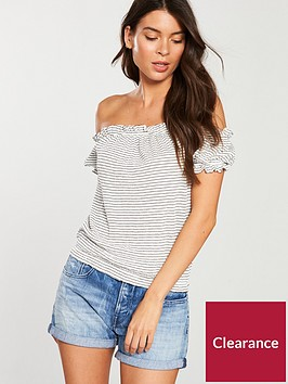 v-by-very-shirred-bardot-top-stripe