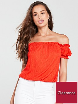 v-by-very-shirred-bardot-top-red
