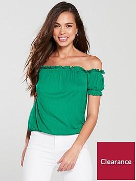 v-by-very-shirred-bardot-top-green