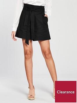 warehouse-compact-cotton-shorts-black