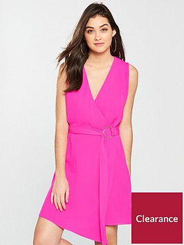 warehouse-asymmetric-wrap-midi-dress-pink