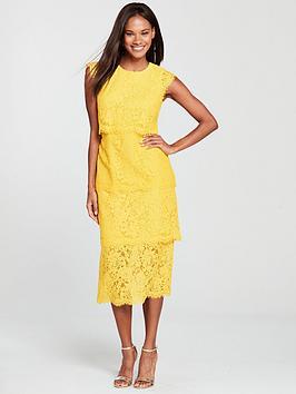 warehouse-tiered-lace-dress-yellow