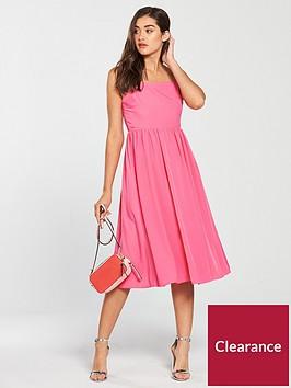 warehouse-smocked-plain-dressnbsp--pink