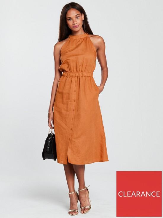 fc8f2643ad Warehouse Linen High Neck Midi Dress - Rust