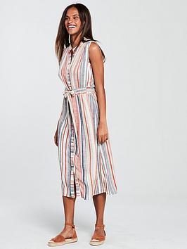 warehouse-linen-shirt-midi-dress-stripenbsp