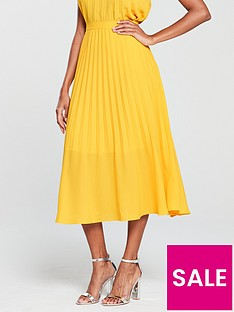 warehouse-pleated-midi-skirt-yellow