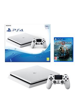 playstation-4-500gbnbspwhite-slim-console-bundle-with-god-of-warnbspand-optional-extras