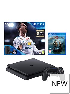 playstation-4-slim-1tbnbspblack-console-with-fifa-18-and-god-of-war-plus-optional-extra-controller-andor-12-monthsnbspplaystation-network