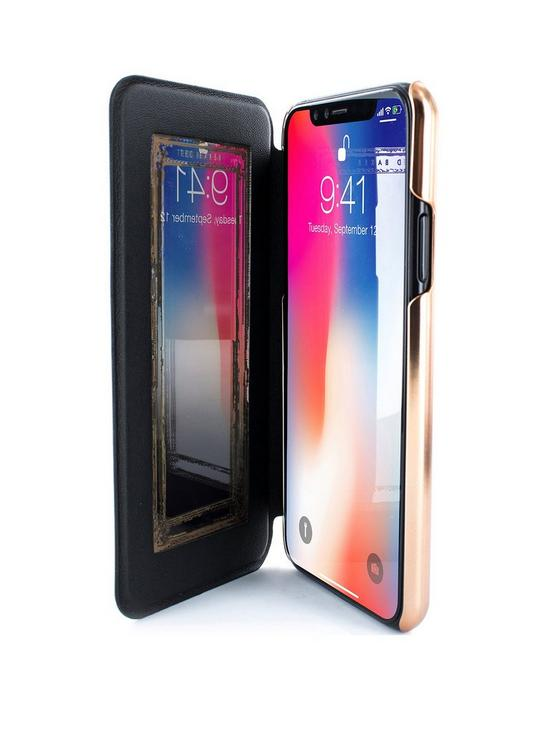 huge selection of 13dcf 27ca6 SHANNON Mirror Folio Case for iPhone X - Black/Rose Gold