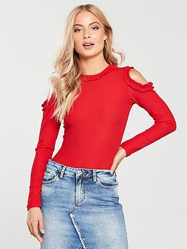 v-by-very-cold-shoulder-ruffle-edge-top-red