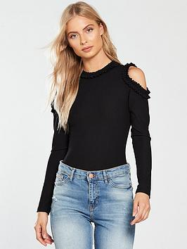 v-by-very-cold-shoulder-ruffle-edge-top-black