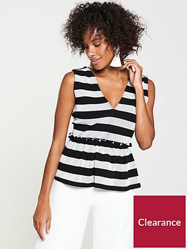 v-by-very-stripe-peplum-top-blackwhite