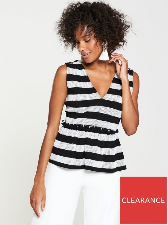 a4ed76095a879b V by Very Stripe Peplum Top - Black/White | very.co.uk