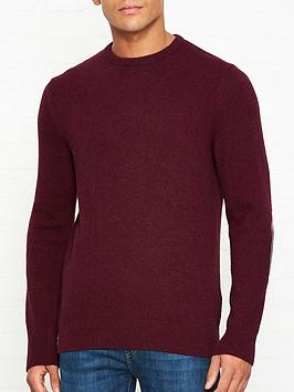 barbour-harold-check-elbow-patch-crew-neck-jumper-maroon