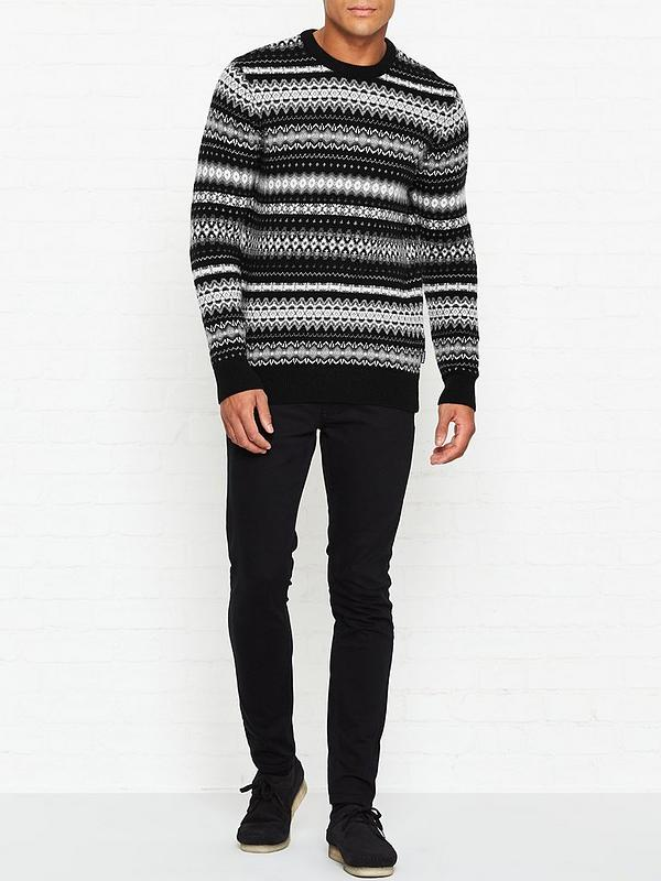 clients first top-rated real big collection Case Fairisle Crew Neck Jumper - Black