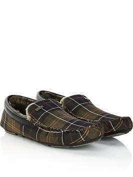 barbour-mens-monty-check-slippers-green
