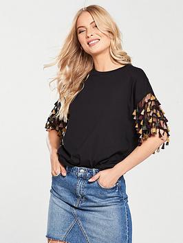 v-by-very-tasselnbspfringing-t-shirt-black