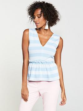 v-by-very-stripe-peplum-top-bluewhite