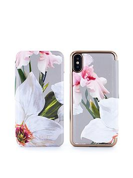 ted-baker-dillis-mirror-folio-case-for-iphone-x--nbspchatsworth-bloom-mid-grey
