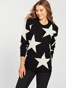 Replay Star Long Knitwear - Black
