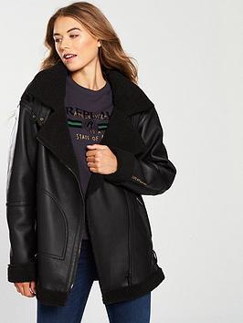 replay-pu-shearling-oversized-jacket-black