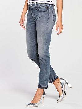 Replay Jacksy Straight High Rise Jean - Blue/Grey