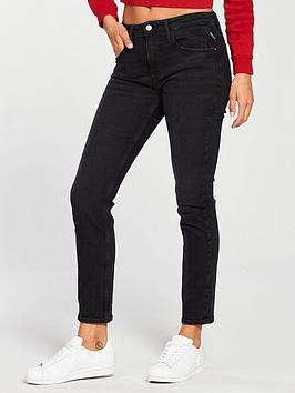 Replay Replay Jacksy Straight High Rise Jean Washed Black