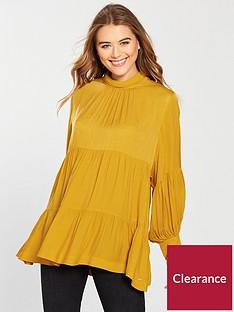 replay-ruched-panel-shirt-mustard