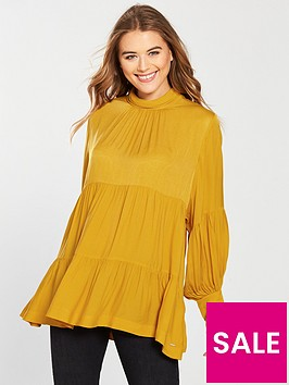 replay-ruched-panel-shirt-mustard