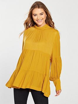 Replay Ruched Panel Shirt - Mustard