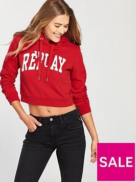 replay-cropped-sleeve-print-hoodie-red