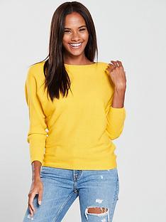 v-by-very-rib-batwing-jumper-saffron-yellow