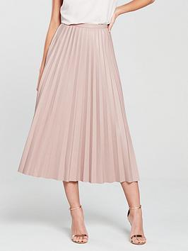 coast-faux-leather-pleated-skirt-blush
