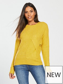 v-by-very-twist-front-detail-jumper-saffron-yellownbsp